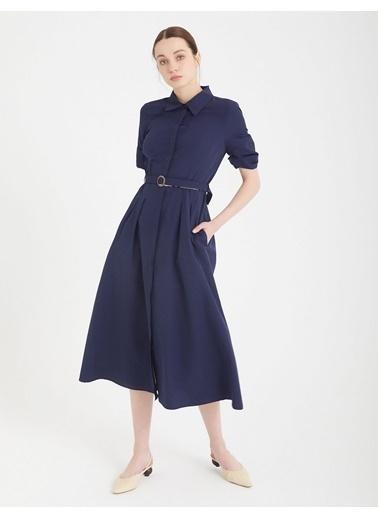 BGN Lacivert - Kemerli Gömlek Elbise Lacivert